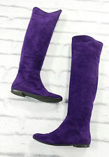 TREND: Giuseppe Zanotti £1000 Violet Suede Over Knee Flat Boots w/Box IT38/UK5