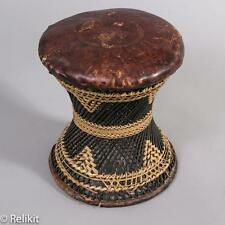 Wicker Antique Leather Top Stool