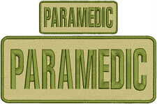 Paramedic embroidery patches 4x10and 2x5 hook on back tan and Od green