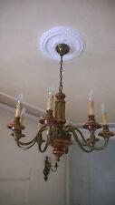 Lampadario 8 luci legno ottone + coppia di 2 appliques abbinate lampada applique