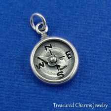 .925 Sterling Silver COMPASS CHARM Nautical Camping Hiking Travel PENDANT *NEW*
