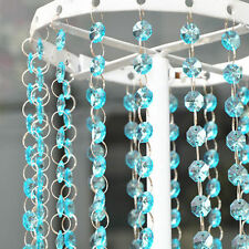 33FT Crystal Water Blue Bead Acrylic Garland Chandelier Hanging Wedding Supplies