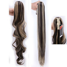 Ponytail Hairpiece Hair Extensions Extra Long Claw Clip in Wavy Human tail Ai7
