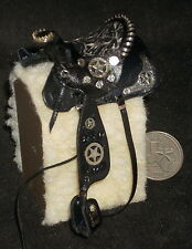 Dollhouse Miniature Prestige Fancy Brown Leather Horse Saddle Texas 1:12 #7608
