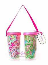NW LILLY PULITZER Insulated Tumbler + Lid Set 2 SPOT YA + IN THE BUNGALOWS 16 oz