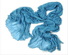 h019 Womens Candy Color Long Crinkle Soft Scarf Voile Wraps Shawl lake blue chic