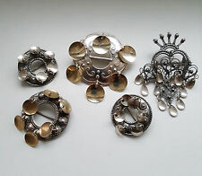 Set Of 5 Norwegian 1950's Gilded / Ox.  Silver 830s Bunad Solje Brooches