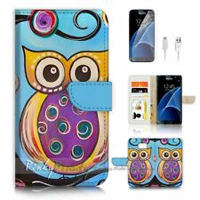 Samsung Galaxy S7 Flip Wallet Case Cover P0078 Owl Painting