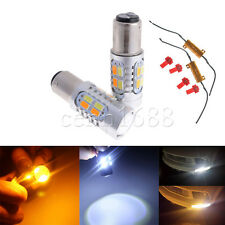 2X BAY15D  1157 Dual Color White Amber Switchback LED Turn Signal Light Bulb