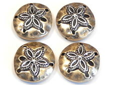 4 - 2 HOLE SLIDER BEADS BRASS & SILVER HAMMERED LOOK SAND DOLLAR BEADS BOHO BEAD