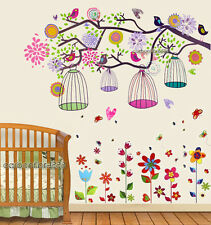 Huge Combo Colourful Bird Cage Tree & Flowers Wall Stickers Art Paper Decal Kids