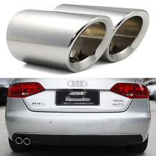 2 x Silver Tailpipe Trims Exhaust Muffler Tail Pipe Tip for Audi A4 B8 2009-2017
