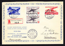 25th Anniversary Air Post 1944 regd flight cover Zurich Switzerland to Lausanne