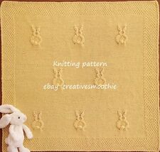 (445) Baby Bunnies Blanket, Chunky Knitting Pattern