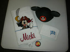 "EMBROIDERED MICKEY MOUSE  BATH TOWEL/HAND TOWEL/EARS - ""MICKI"" PERSONALIZED"