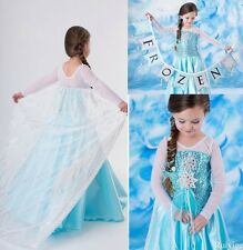 Girls Fancy Pary Dresses Frozen Anna Elsa Costume Cosplay Clothes Size 5-6Years