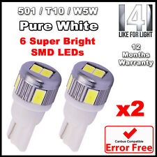 2x ERROR FREE CANBUS T10 501 W5W 6 LED 5630 SMD CREE side light bulbs PURE WHITE