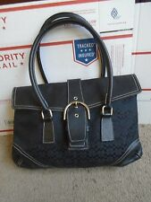 COACH black Signature Flap Jacquard Leather Tote Shoulder Bag Purse 6388