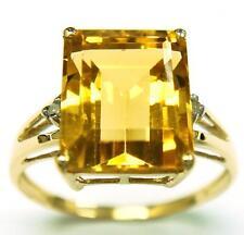 10KT YELLOW GOLD OCTAGON CITRINE & DIAMOND RING SIZE 7    R917