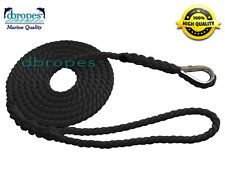 Mooring Pendant 100% Nylon Rope Black 1/2 In X 6 Ft with Thimble TS 6400 Lbs