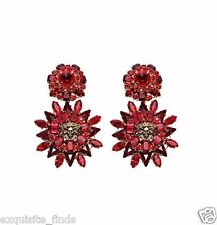 New Versace Blooming Medusa Swarovski Crystal Drop Earrings in Red