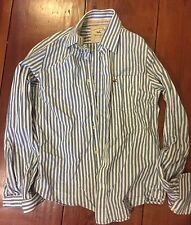 Hollister Men's Long Sleeve Blue And White Striped Button Down Shirt  Size Small