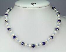 Pretty royal blue, lilac crystal & off white faux pearl necklace, silver spacers