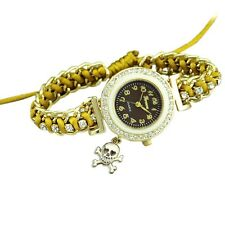 Mustard Yellow Crystal Ladies Wrist Watch Halloween Skull Bones Xmas Gift Cute