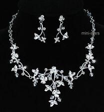De Boda Hecho A Mano Cristales Bañada En Plata Juego Collar Y Pendientes S1210