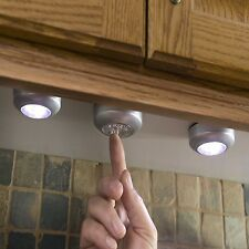 Wireless Led Light Battery Operated Stick On Set of 3 Under Cabinet Closet Tap