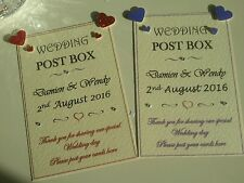 Handmade Personalised wedding post box wishing well sign card many heart colours