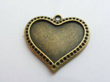 5 x Tibetan Style Heart Cabochon Settings Antique Bronze 28mm, LF NF, Tray Base