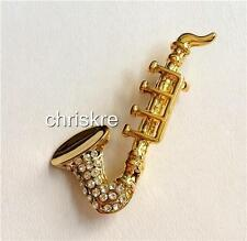 Gold Plated Crystal Saxophone Pin Brooch Jazz Sax Music Teacher Musician Gift