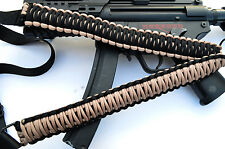 Tactical 550 Paracord Rifle Gun Sling Single Point Airsoft - Sand / Black 34""