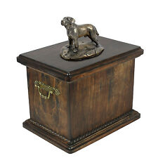 Solid Wood Casket Labrador  Memorial Urn for Dog's ashes with Dog statue.