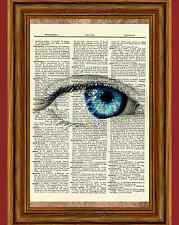 Surreal Eye Dictionary Picture Art Print Poster Blue Iris Ball Vision Science