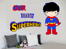 Our Little Superhero Wall Art Stickers Decals Super Hero Comic Marvel Superman