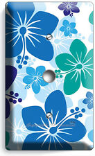BLUE HAWAIIAN HIBISCUS FLOWERS LIGHT DIMMER CABLE WALL PLATE COVER BEDROOM DECOR