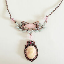 New Lady Cameo Pink Bow Flower Floral Charm Pendant Chain Necklace Gift NE1491