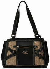 B.O.C. Park Slope Satchel Handbag One Size Black/straw beige