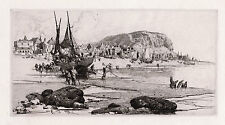 "1800s Stephen PARRISH ORIGINAL Etching ""Old Hastings Fishing"" SIGNED Framed COA"