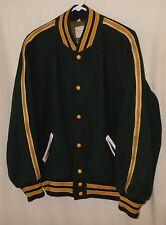 Vtg Letterman Varsity Jacket Sand Knit Wool Baseball Style Beaver Patch 48
