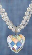 AURORA BOREALIS CRYSTAL HEART RHINESTONE NECKLACE new PEARLS REG $40