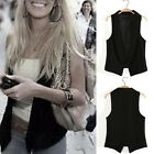 Womens Casual Waistcoat Slim Fit Lapel Collar Trendy Black Suit Vest