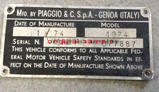 VESPA Chassis Plate FRAME NUMBER VBA GS VNA VBB SUPER SPRINT 1959-1970 ALL STATE