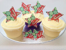 12 Christmas Sweets Candy Cane Pattern Star Rice Wafer Paper Cupcake Bun Toppers