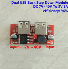 DC-DC Buck Converter 9V 12V 24V 36V To 5V 3A Step Down Dual USB Charger Module