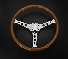 "14.5"" ROUND HOLE 3 SPOKES MAHOGANY FINGER GRIP WOOD GRAIN HORN STEERING WHEEL"