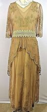 Vintage Style Dress Gatsby Victorian Mother of the Bride Brown Lace Nataya M NWT