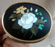 Vintage LARGE  Gold Mosaic Floral Brooch - Pietra Dura c.1890